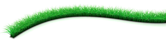 Lawn Line. Patch of green 3d grass, over white, isolated Royalty Free Stock Photo
