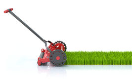 Lawn Mower. 3D illustration with lawn mower and grass over white reflective background Stock Image
