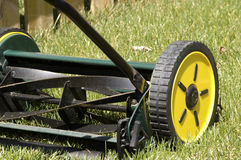 Lawn Mower. Reel type push mower that is environmentally friendly Stock Photo