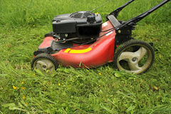 Lawn mower cutting grass Stock Images
