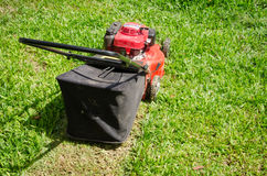 Lawn mower cutting grass. On the lawn Royalty Free Stock Photo