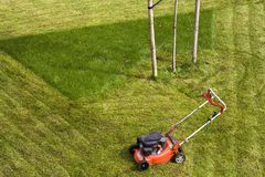 Lawn mower cutting grass on green field in yard. Mowing gardener care work tool.  Royalty Free Stock Image