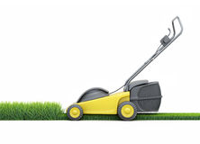 Lawn mower cutting grass isolated on white background. Stock Photo