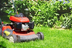 Lawn mower cutting the grass. Red Lawn mower cutting grass in the garden Royalty Free Stock Photography