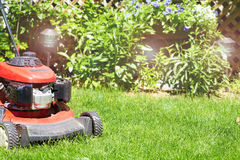 Lawn mower cutting the grass. Red Lawn mower cutting grass in the garden Royalty Free Stock Photo