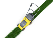 Lawn mower cutting grass top view on white background. 3d render Stock Photo
