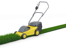 Lawn mower cutting grass on white background. 3d rendering Stock Images