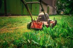 Lawn mower cutting green grass in backyard.Gardening background. Lawn mower cutting green grass in backyard. Gardening background Stock Photos