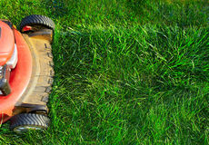 Lawn mower cutting green grass. Work in the garden Stock Images
