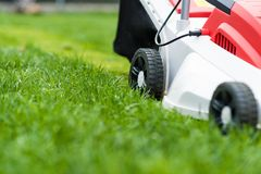 Lawn mower cutting green grass. Royalty Free Stock Image