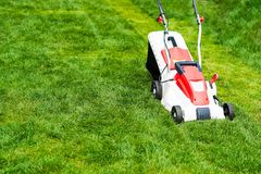 Lawn mower cutting green grass. Stock Image