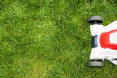 Lawn mower cutting green grass. Stock Photography