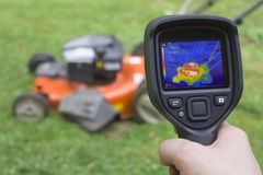 Lawn Mower Failure. Thermal Image Failure Detection of Lawn Mower Royalty Free Stock Images