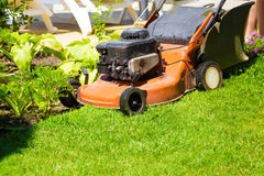 Lawn mower on a fresh lawn in the garden Royalty Free Stock Photos