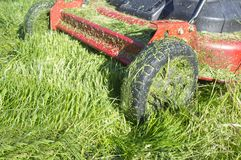 Lawn mower full of grass blades just after work Stock Photos