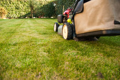 Lawn mower. In a garden Royalty Free Stock Images
