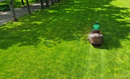 Lawn mower. Gardener cuts grass in a park lawn. Grass cutter. Lawn mower. Gardener cuts grass in a park lawn with a grass cutter royalty free stock image