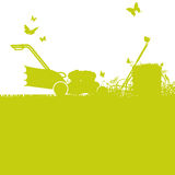 Lawn mower and gardening. Lawn mower and weekend gardening Royalty Free Stock Image