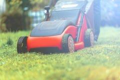 Lawn mower mower grass equipment mowing gardener care work tool.  stock photography