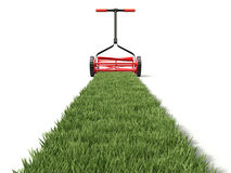Lawn mower and grass path - 3D illustration Stock Image