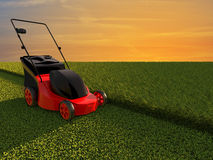 Lawn mower on green field. With sunset sky Royalty Free Stock Photos