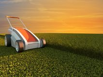 Lawn mower on green field Stock Images