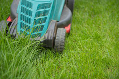Lawn mower  on the green grass, cutting,  closeup. Cutting grass  machine on the green lawn mower Stock Photos