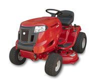 Lawn mower, isolated. Red sitting lawn tractor on white, isolated with shadow and clipping path Royalty Free Stock Photo