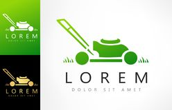 Lawn mower logo vector. Logo design vector illustration royalty free illustration