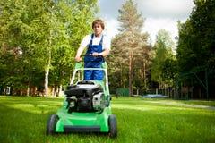 Lawn mower man stock photo