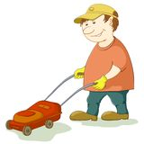 Lawn mower man. Work, isolated on white background Royalty Free Stock Image