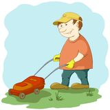 Lawn mower man Stock Images