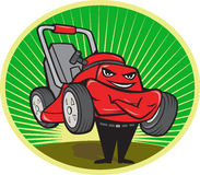 Lawn Mower Man Cartoon Oval. Illustration of lawn mower man smiling standing with arms folded facing front done in cartoon style set inside oval with sunburst in Royalty Free Stock Images