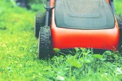 Lawn mower mower grass equipment mowing gardener care work tool.  stock photo