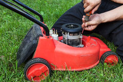 Lawn mower repair Royalty Free Stock Photos