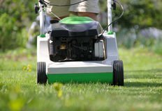 Lawn mower at work. Front view Royalty Free Stock Photography