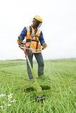 Lawn mower worker Stock Image