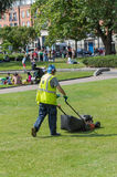 Lawn mower worker Royalty Free Stock Photography
