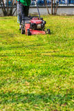 Lawn mowers. And garden of the house Royalty Free Stock Photo