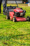 Lawn mowers. And garden of the house Royalty Free Stock Photos