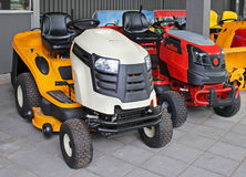 Lawn mowers. New lawn mowers equipment for gardening work Royalty Free Stock Photography