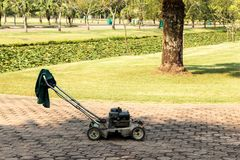 Lawn Mowers. At public park Royalty Free Stock Image