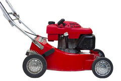 Lawn mowers red. Wiht isolated Stock Images