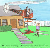 Lawn mowing. The lawn mowing industry was ripe for innovation Stock Photo