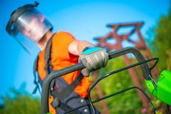 Lawn Mowing Safety Stock Images