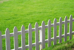 Lawn and railing. The white railing protecting the green lawn Royalty Free Stock Images