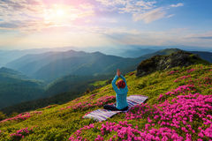 On the lawn in rhododendrons the girl is sitting in lotus posture. Royalty Free Stock Photos