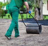 Lawn roller walk Royalty Free Stock Images