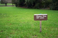 Lawn sign. Stay off lawn Royalty Free Stock Photo
