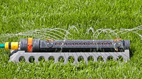 Lawn with Sprinkler Royalty Free Stock Images